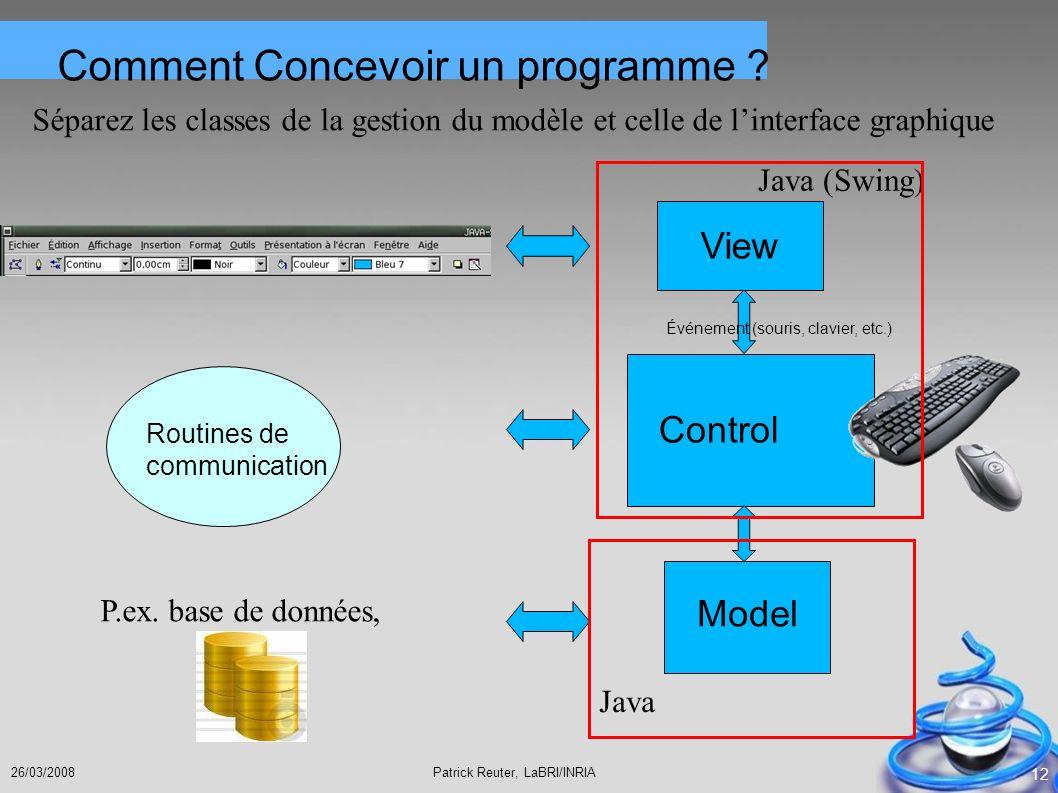 Patrick Reuter, LaBRI/INRIA26/03/2008 12 Routines de communication Événement (souris, clavier, etc.) Control View Model Comment Concevoir un programme