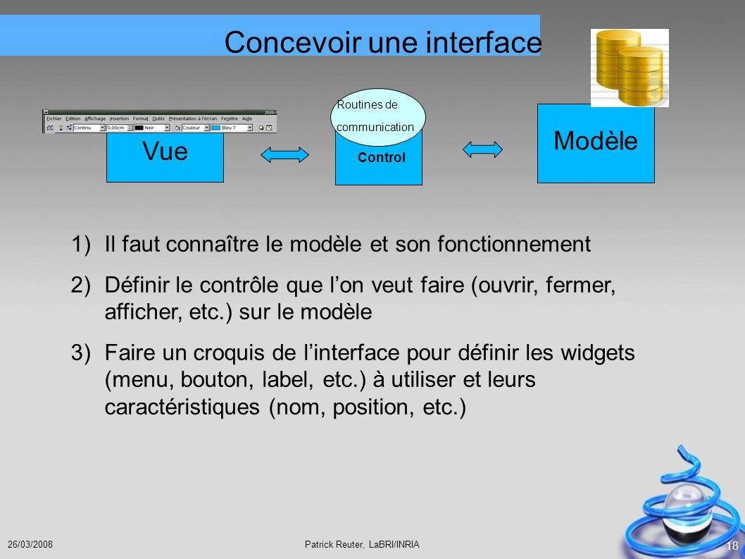 Patrick Reuter, LaBRI/INRIA26/03/2008 18 Control Routines de communication Vue Modèle 1) Il faut connaître le modèle et son fonctionnement 2) Définir
