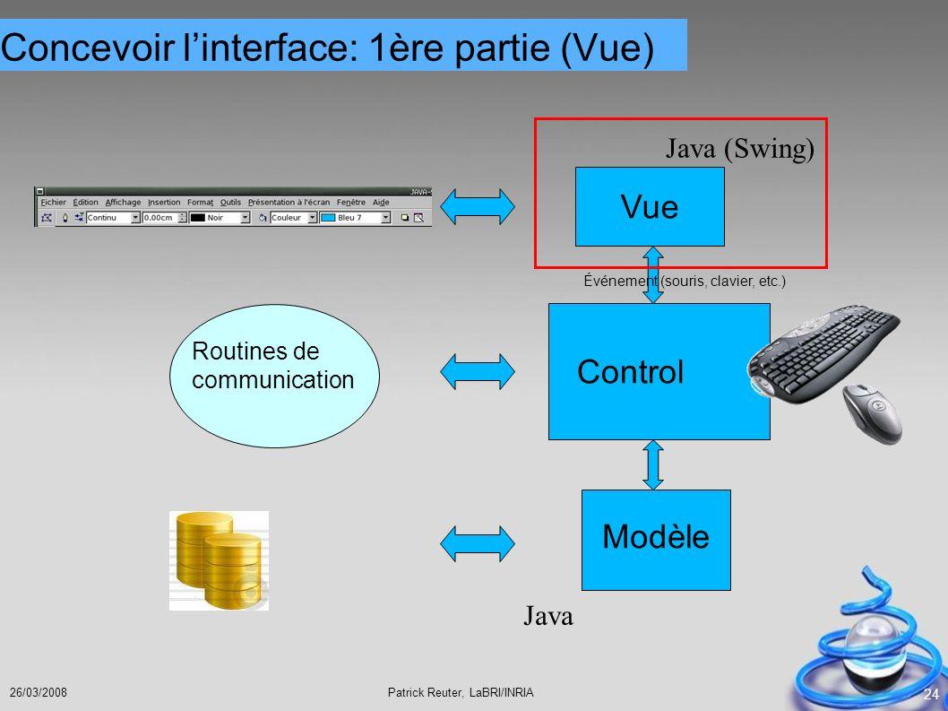 Patrick Reuter, LaBRI/INRIA26/03/2008 24 Modèle Vue Control Événement (souris, clavier, etc.) Routines de communication Java Java (Swing) Concevoir li