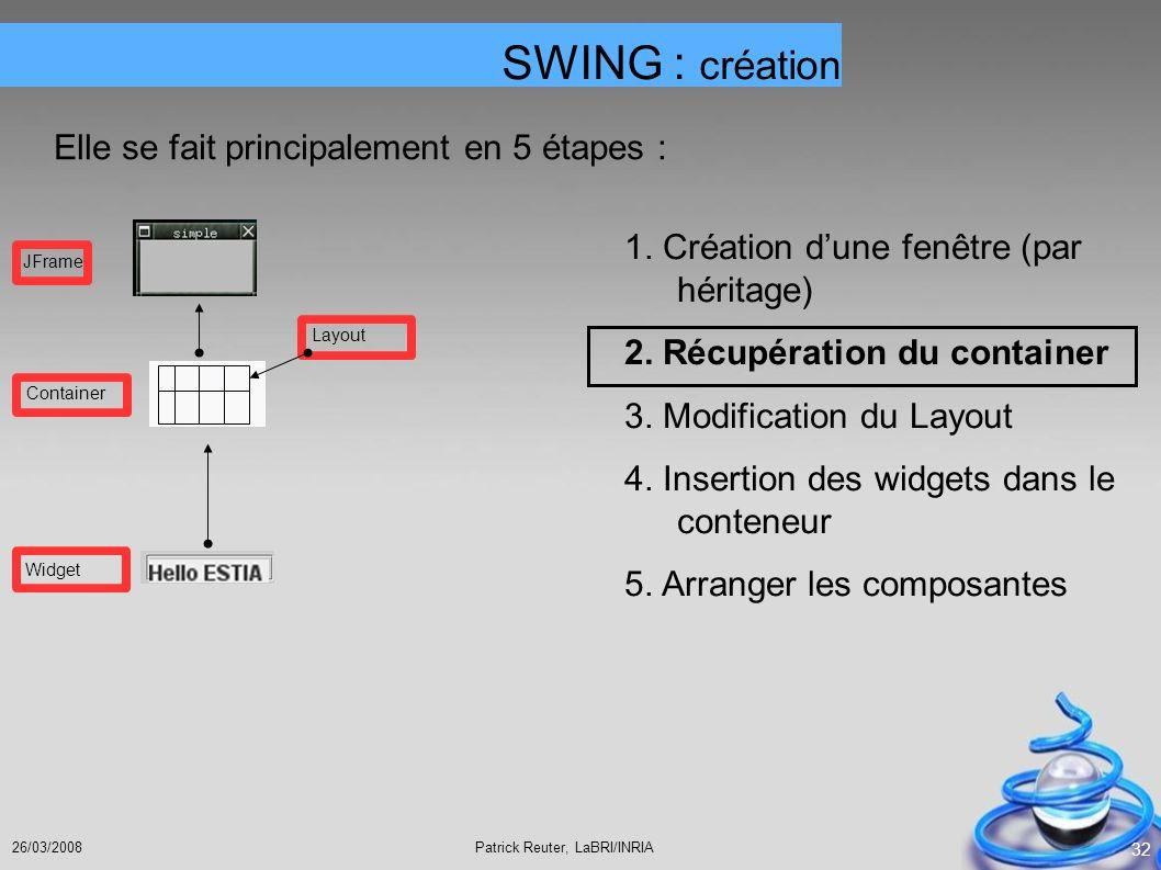 Patrick Reuter, LaBRI/INRIA26/03/2008 32 SWING : création Elle se fait principalement en 5 étapes : 1. Création dune fenêtre (par héritage) 2. Récupér