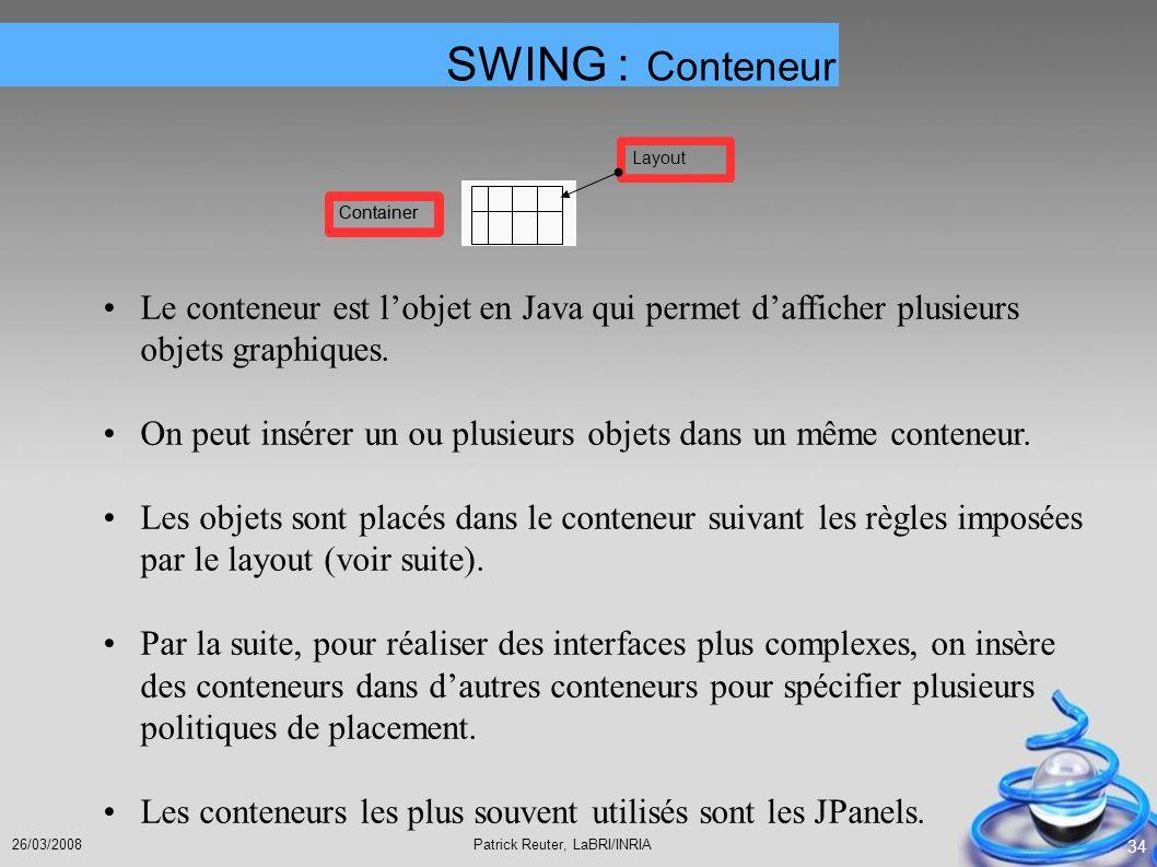 Patrick Reuter, LaBRI/INRIA26/03/2008 34 Le conteneur est lobjet en Java qui permet dafficher plusieurs objets graphiques. On peut insérer un ou plusi