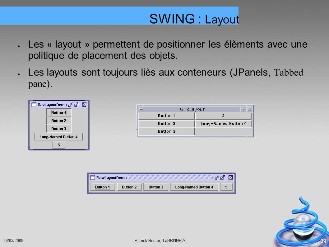 Patrick Reuter, LaBRI/INRIA26/03/2008 39 Les « layout » permettent de positionner les élèments avec une politique de placement des objets. Les layouts