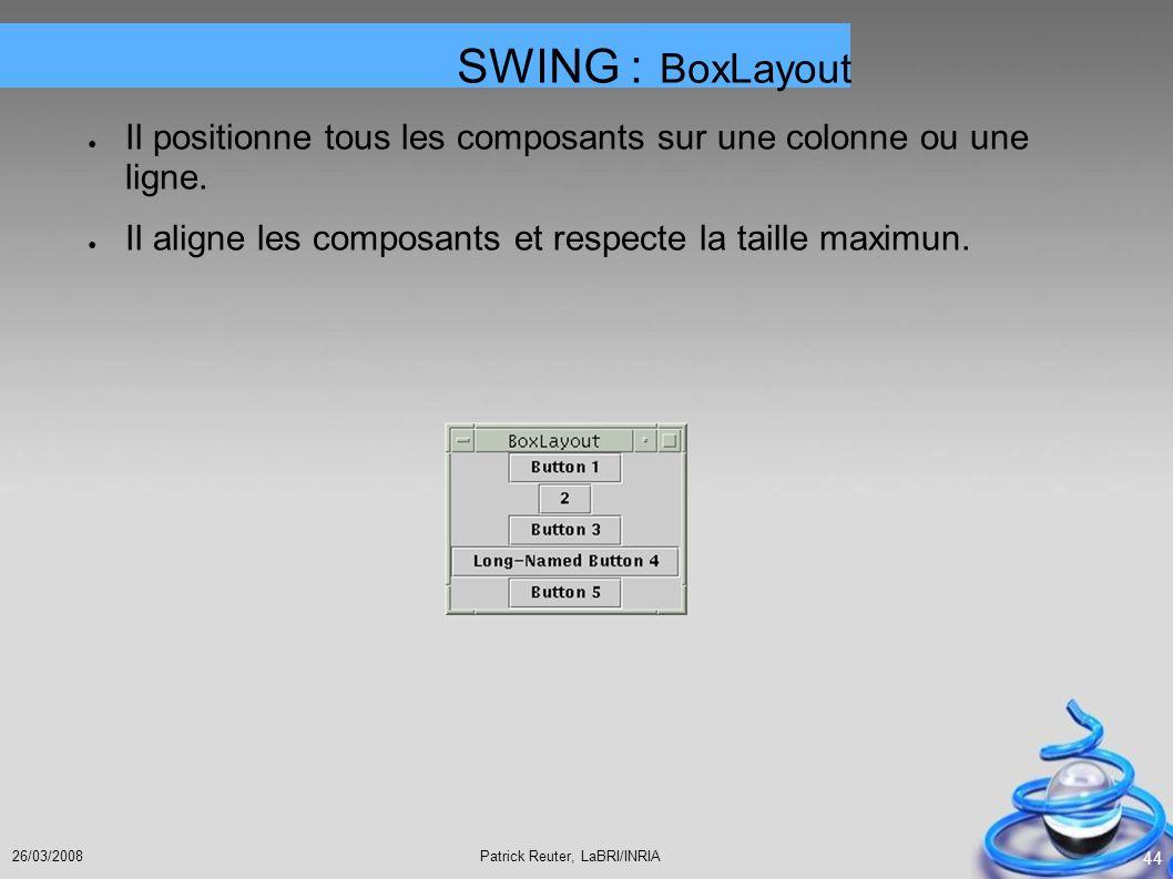 Patrick Reuter, LaBRI/INRIA26/03/2008 44 Il positionne tous les composants sur une colonne ou une ligne. Il aligne les composants et respecte la taill