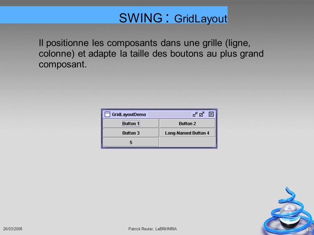 Patrick Reuter, LaBRI/INRIA26/03/2008 46 Il positionne les composants dans une grille (ligne, colonne) et adapte la taille des boutons au plus grand c