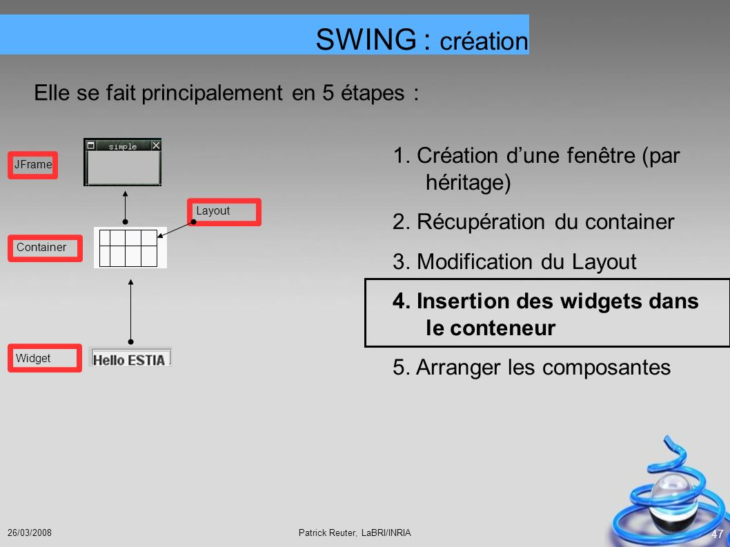 Patrick Reuter, LaBRI/INRIA26/03/2008 47 SWING : création Elle se fait principalement en 5 étapes : 1. Création dune fenêtre (par héritage) 2. Récupér