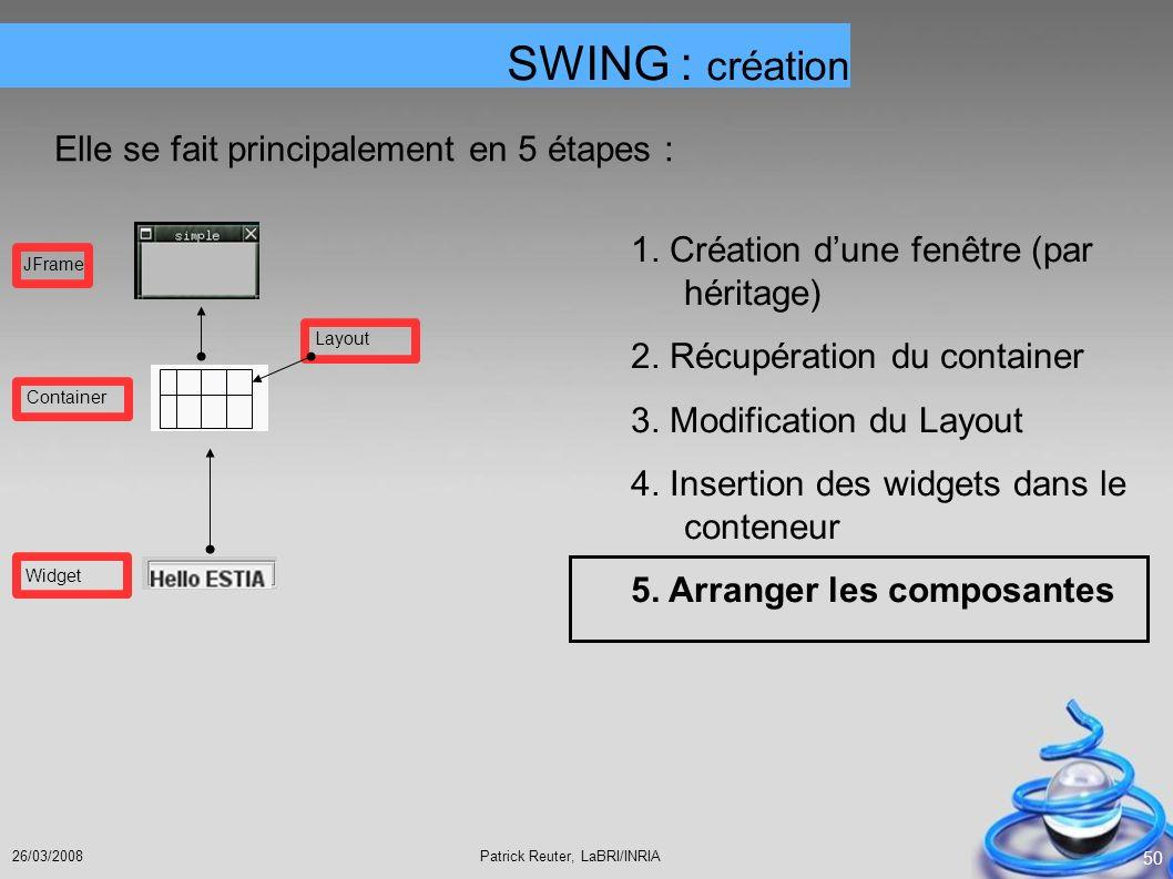 Patrick Reuter, LaBRI/INRIA26/03/2008 50 SWING : création Elle se fait principalement en 5 étapes : 1. Création dune fenêtre (par héritage) 2. Récupér