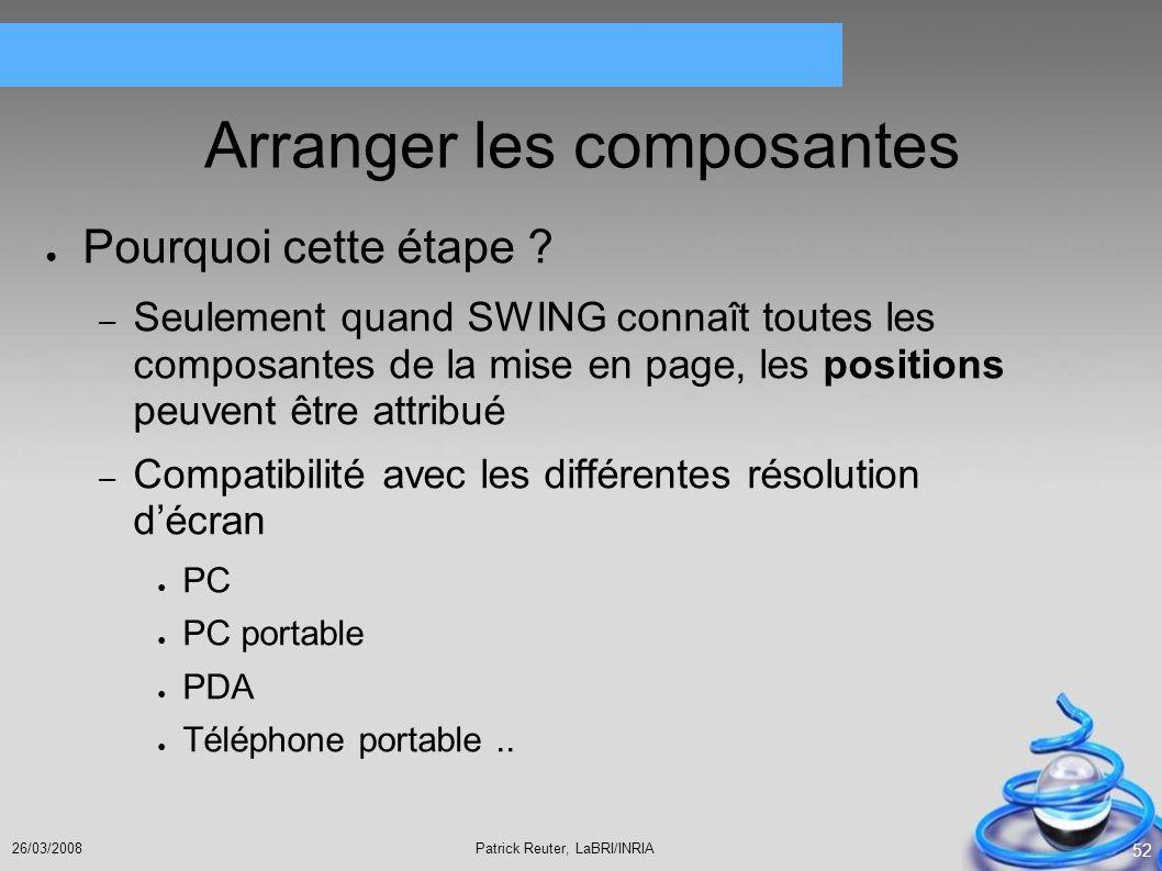 Patrick Reuter, LaBRI/INRIA26/03/2008 52 Arranger les composantes Pourquoi cette étape ? – Seulement quand SWING connaît toutes les composantes de la