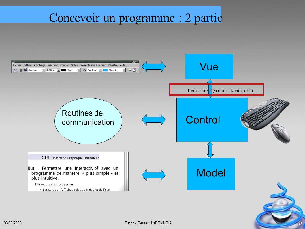 Patrick Reuter, LaBRI/INRIA26/03/2008 57 Model Vue Control Événement (souris, clavier, etc.) Routines de communication Concevoir un programme : 2 part