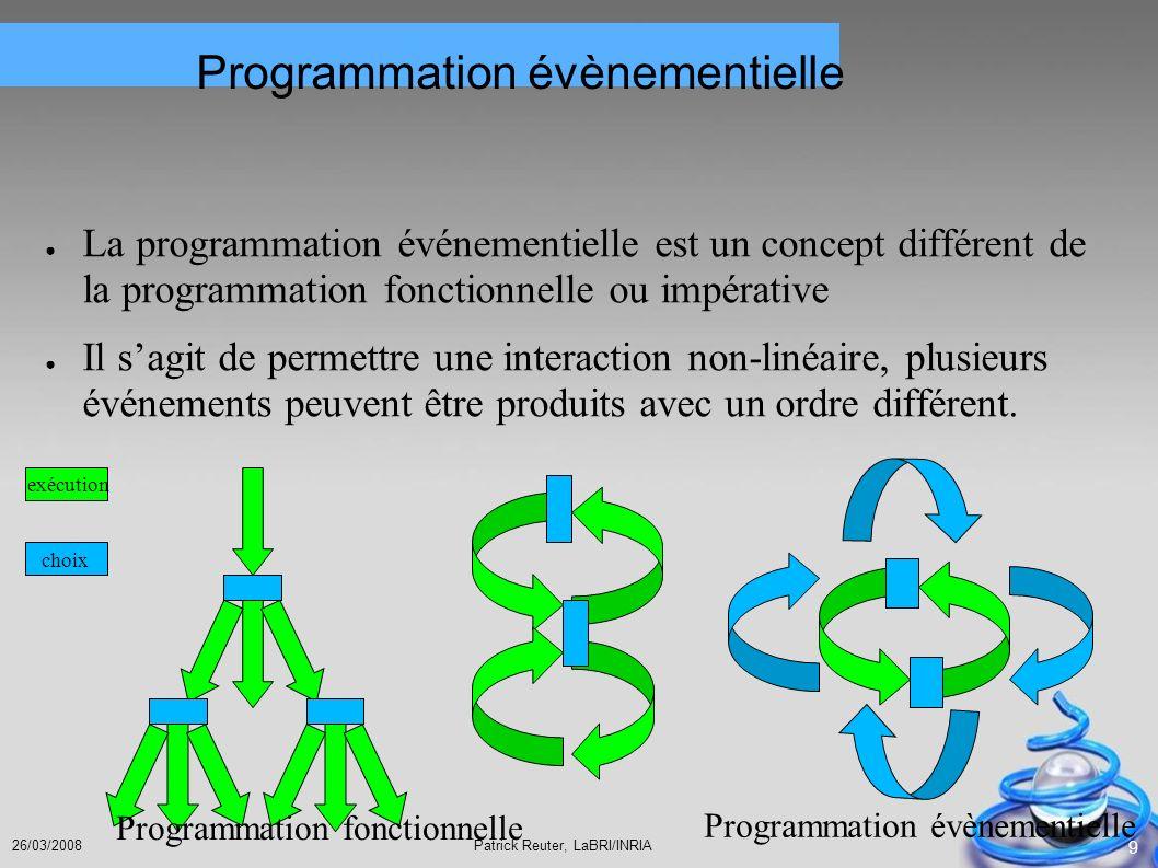 Patrick Reuter, LaBRI/INRIA26/03/2008 9 Programmation évènementielle La programmation événementielle est un concept différent de la programmation fonc