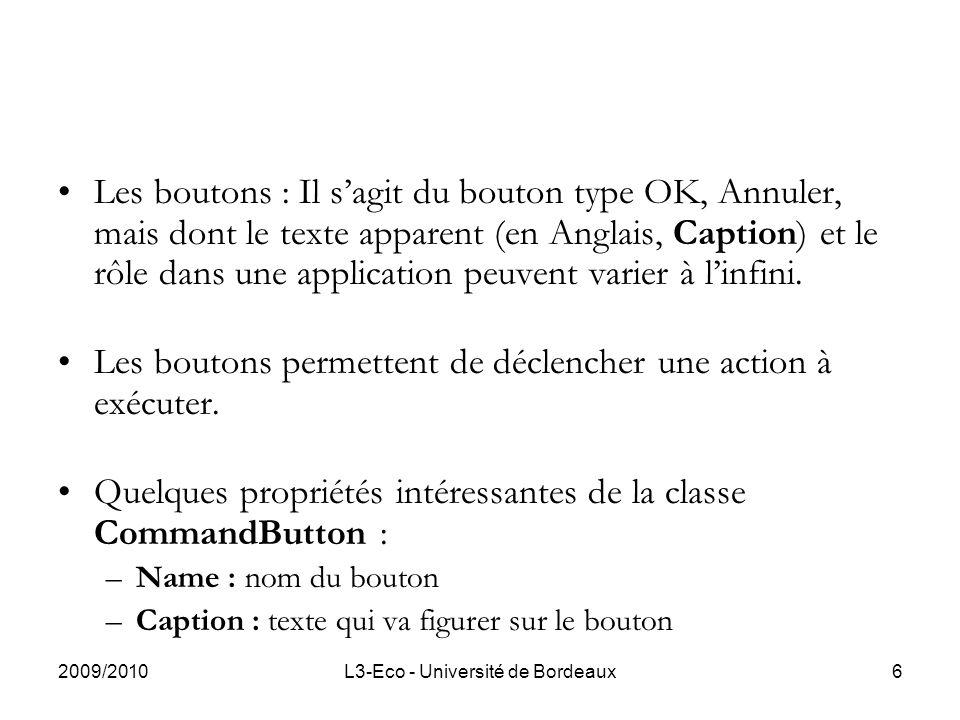 2009/2010L3-Eco - Université de Bordeaux6 Les boutons : Il sagit du bouton type OK, Annuler, mais dont le texte apparent (en Anglais, Caption) et le rôle dans une application peuvent varier à linfini.