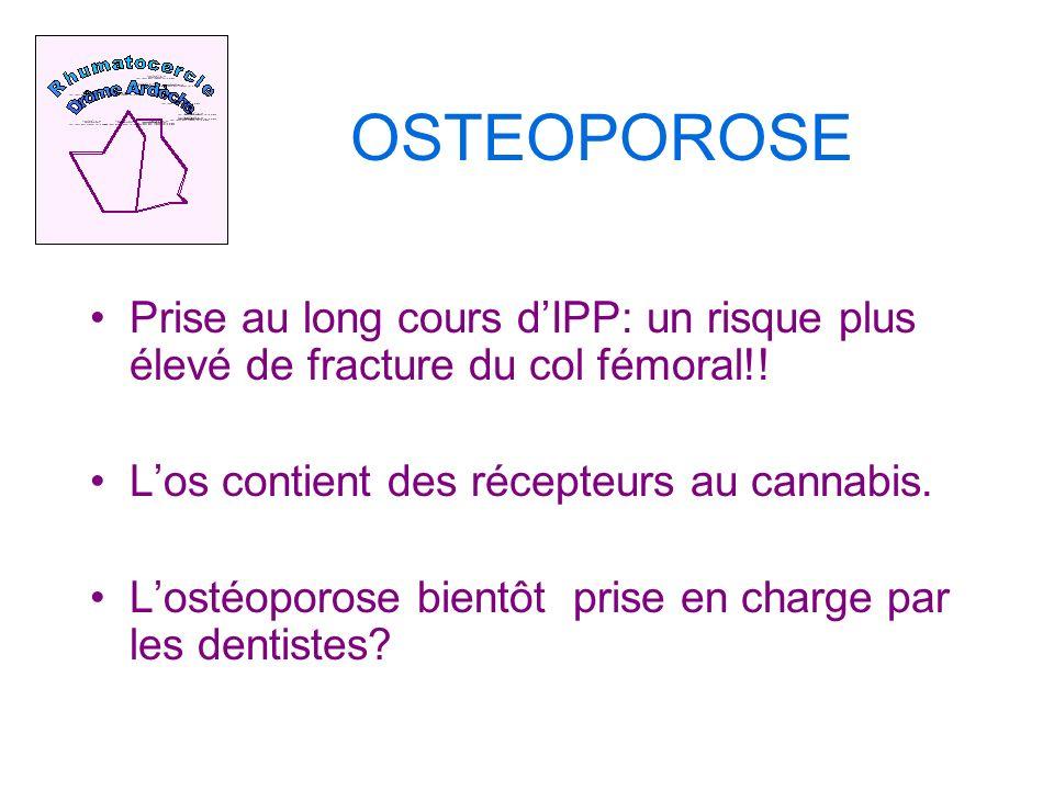 OSTEOPOROSE Prise au long cours dIPP: un risque plus élevé de fracture du col fémoral!.