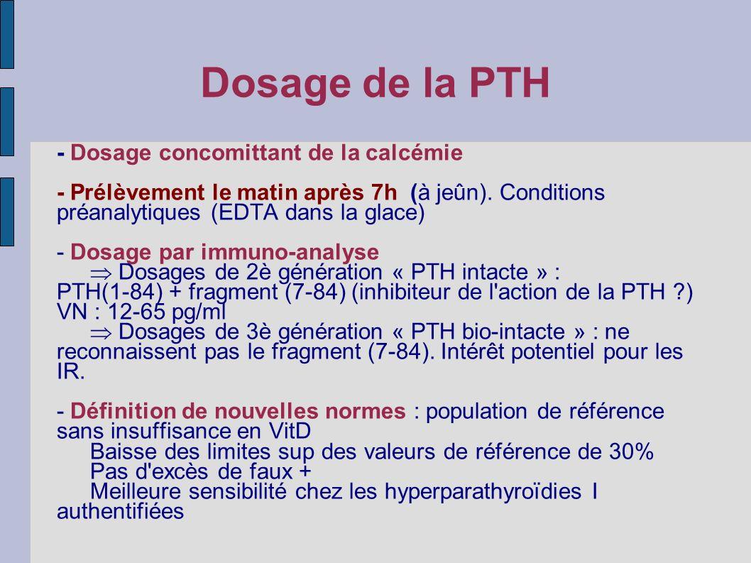 Dosage de la PTH - Dosage concomittant de la calcémie - Prélèvement le matin après 7h (à jeûn). Conditions préanalytiques (EDTA dans la glace) - Dosag