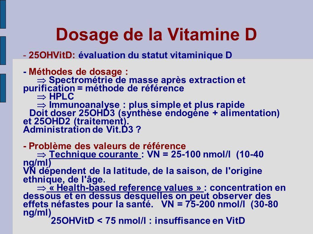Dosage de la Vitamine D - 25OHVitD: évaluation du statut vitaminique D - Méthodes de dosage : Spectrométrie de masse après extraction et purification