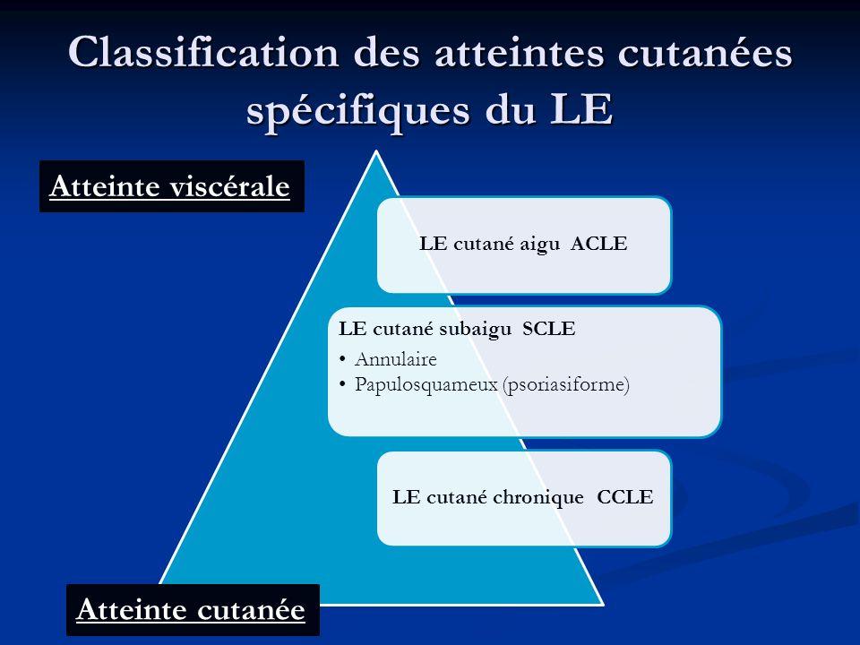 Classification des atteintes cutanées spécifiques du LE Atteinte cutanée Atteinte viscérale