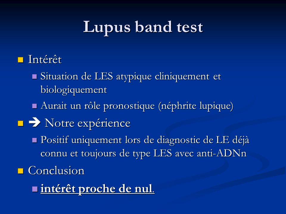 Lupus band test Intérêt Intérêt Situation de LES atypique cliniquement et biologiquement Situation de LES atypique cliniquement et biologiquement Aura