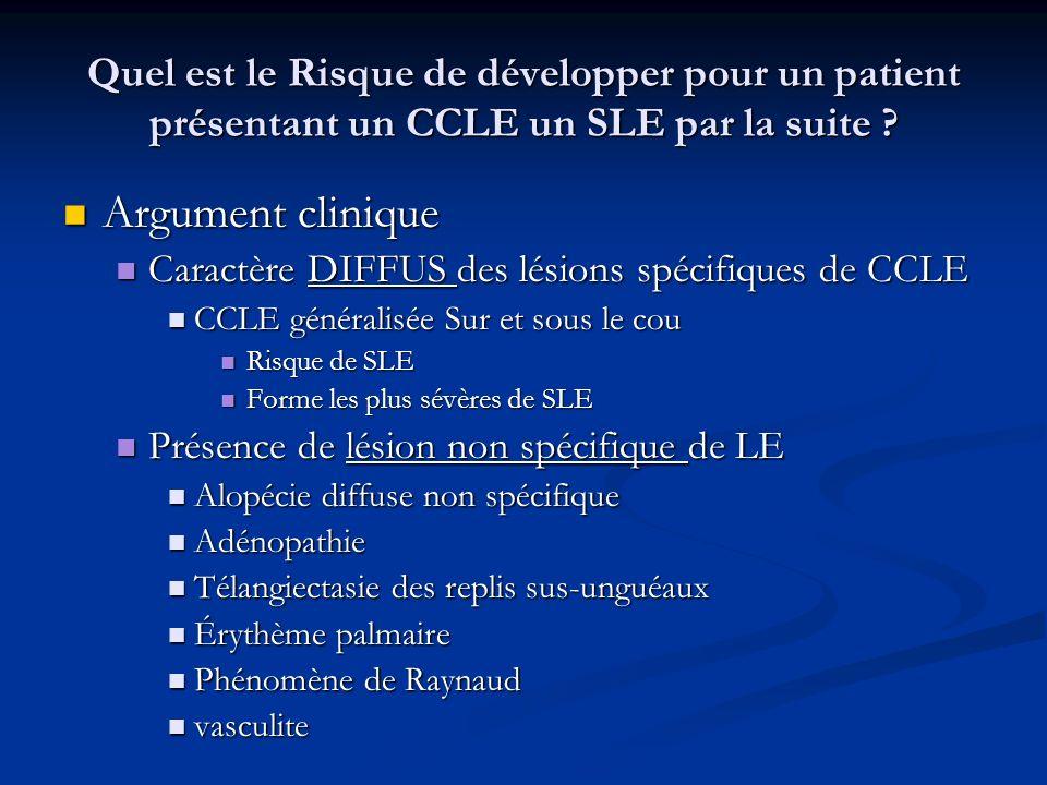 Quel est le Risque de développer pour un patient présentant un CCLE un SLE par la suite ? Argument clinique Argument clinique Caractère DIFFUS des lés