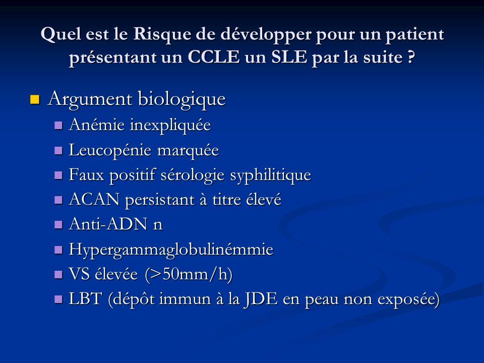 Quel est le Risque de développer pour un patient présentant un CCLE un SLE par la suite ? Argument biologique Argument biologique Anémie inexpliquée A
