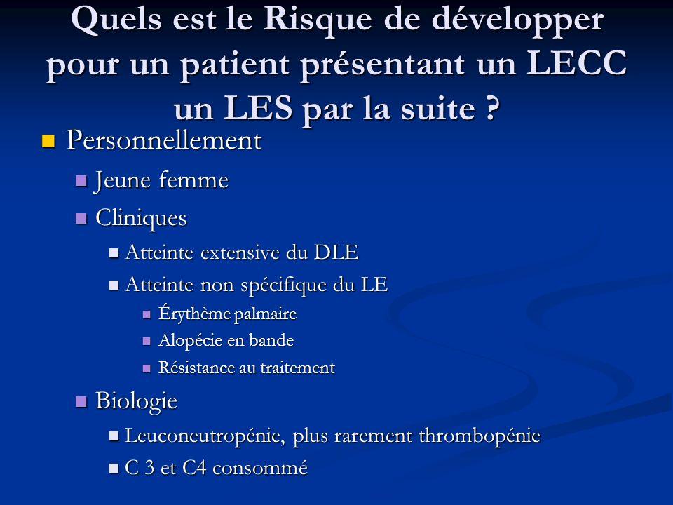 Quels est le Risque de développer pour un patient présentant un LECC un LES par la suite ? Personnellement Personnellement Jeune femme Jeune femme Cli