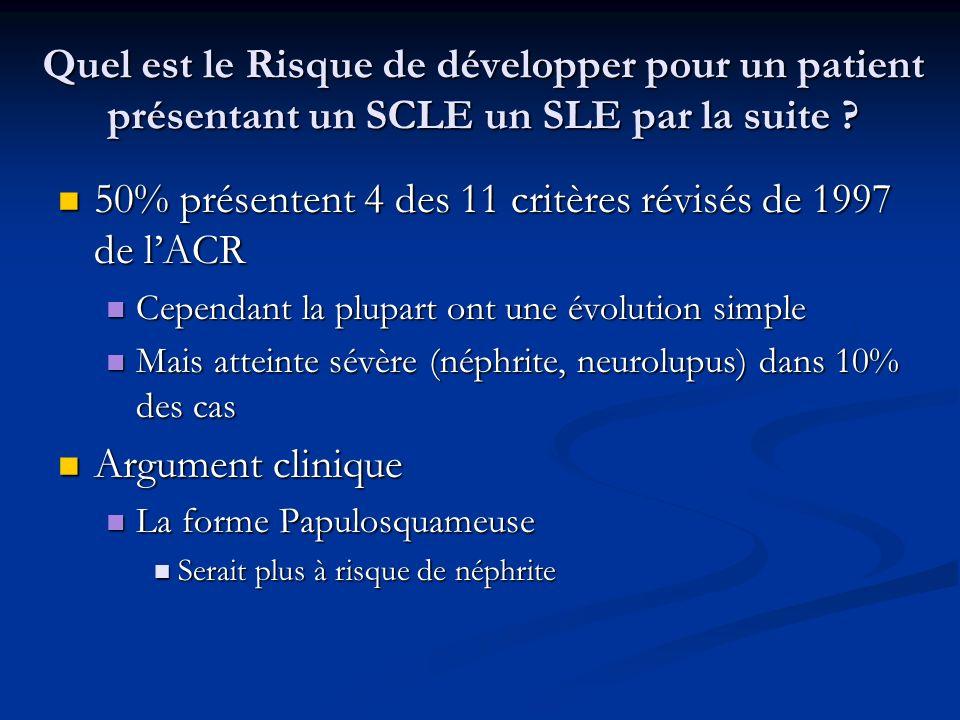 Quel est le Risque de développer pour un patient présentant un SCLE un SLE par la suite ? 50% présentent 4 des 11 critères révisés de 1997 de lACR 50%
