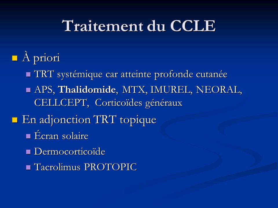 Traitement du CCLE À priori À priori TRT systémique car atteinte profonde cutanée TRT systémique car atteinte profonde cutanée APS, Thalidomide, MTX,