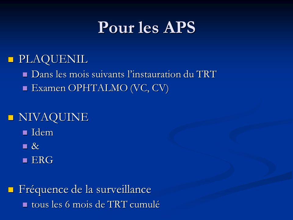 Pour les APS PLAQUENIL PLAQUENIL Dans les mois suivants linstauration du TRT Dans les mois suivants linstauration du TRT Examen OPHTALMO (VC, CV) Exam