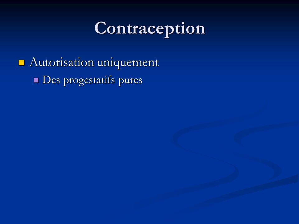 Contraception Autorisation uniquement Autorisation uniquement Des progestatifs pures Des progestatifs pures