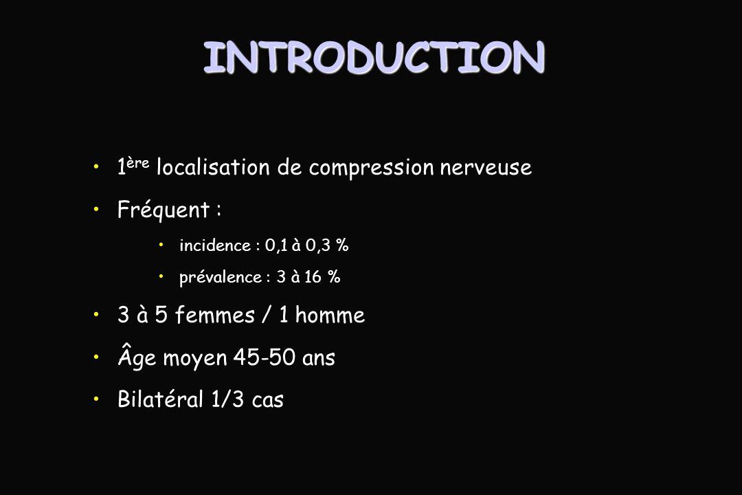 INTRODUCTION 1 ère localisation de compression nerveuse Fréquent : incidence : 0,1 à 0,3 % prévalence : 3 à 16 % 3 à 5 femmes / 1 homme Âge moyen 45-50 ans Bilatéral 1/3 cas