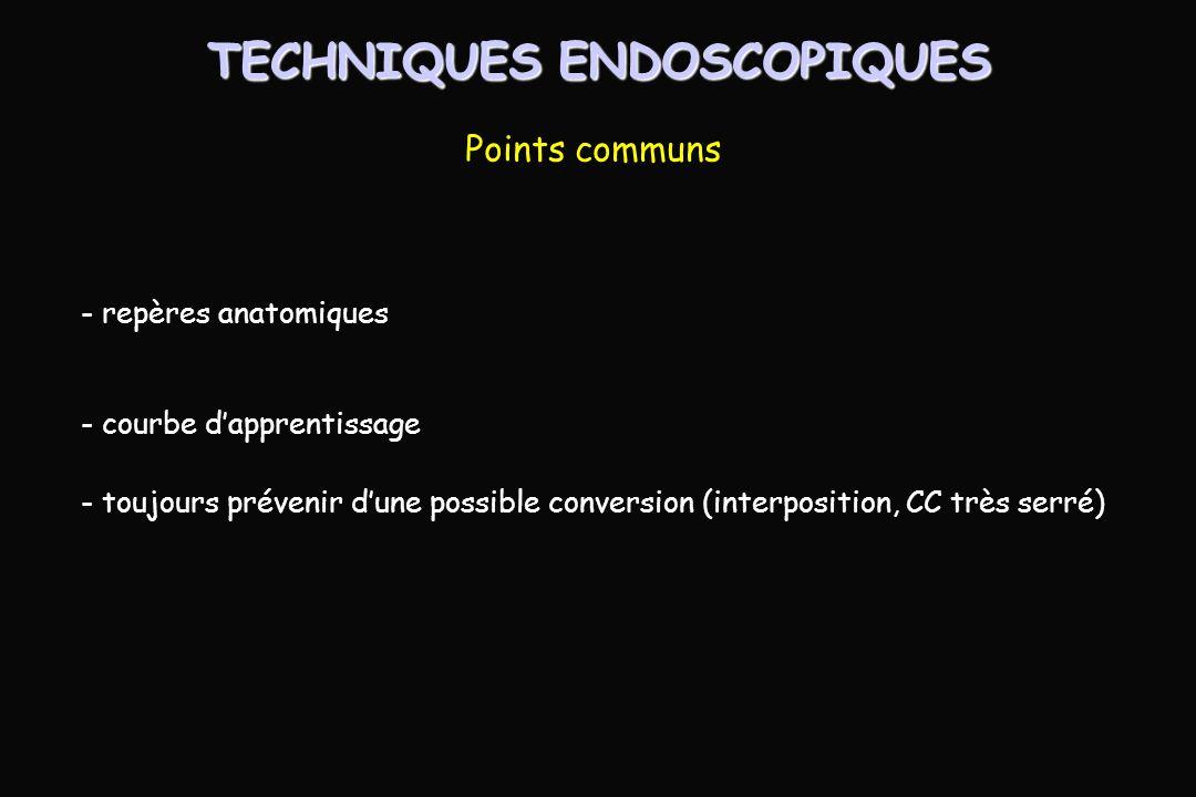 - repères anatomiques - courbe dapprentissage - toujours prévenir dune possible conversion (interposition, CC très serré) TECHNIQUES ENDOSCOPIQUES Points communs