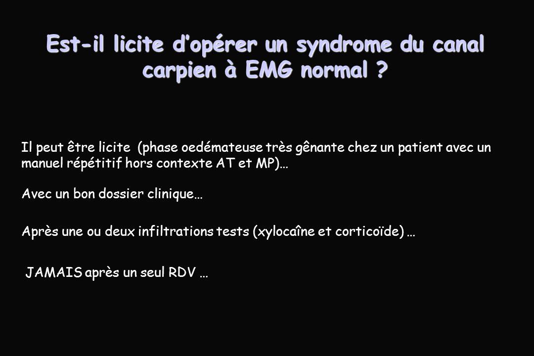 Est-il licite dopérer un syndrome du canal carpien à EMG normal .