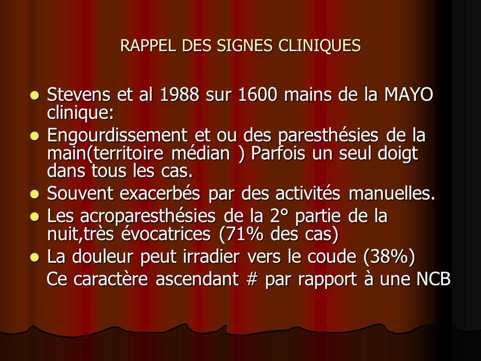 RAPPEL DES SIGNES CLINIQUES Stevens et al 1988 sur 1600 mains de la MAYO clinique: Stevens et al 1988 sur 1600 mains de la MAYO clinique: Engourdissem