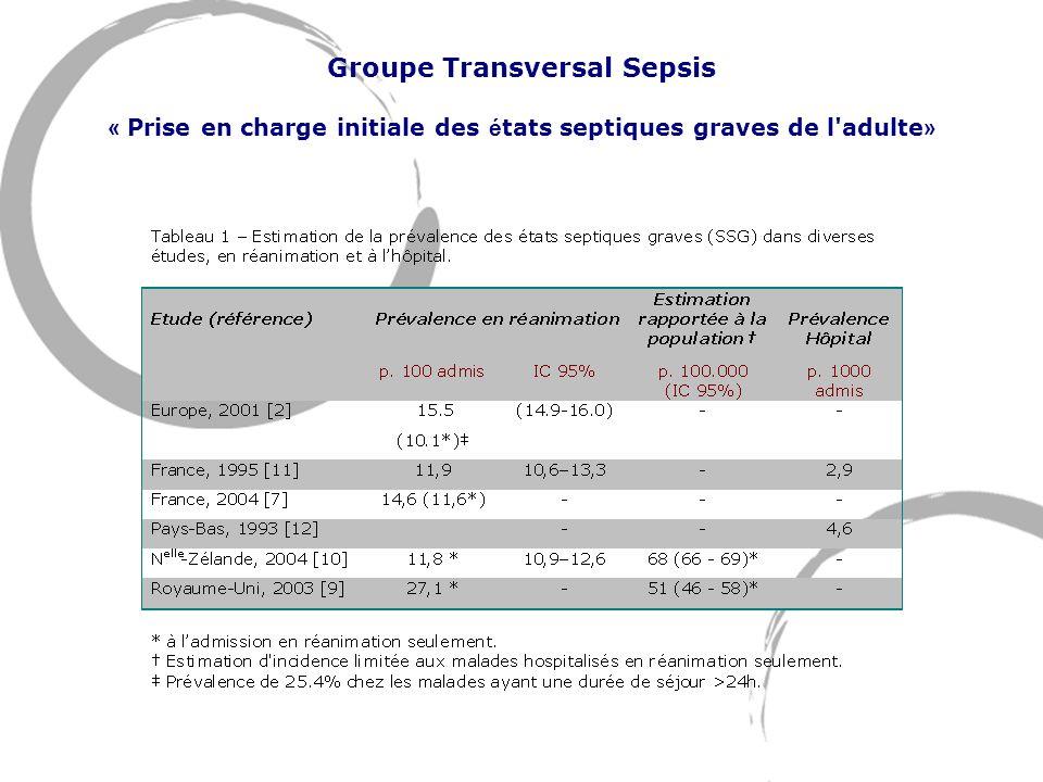 Groupe Transversal Sepsis « Prise en charge initiale des é tats septiques graves de l'adulte »
