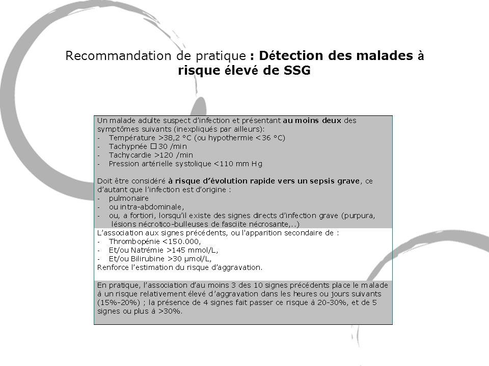 Recommandation de pratique : D é tection des malades à risque é lev é de SSG