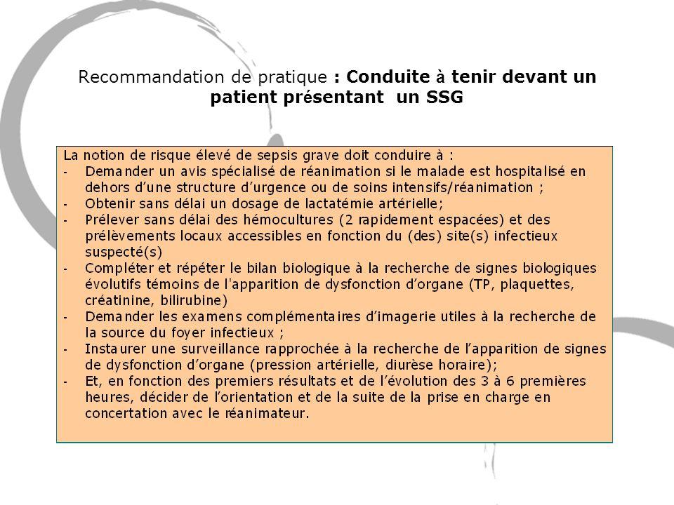 Recommandation de pratique : Conduite à tenir devant un patient pr é sentant un SSG