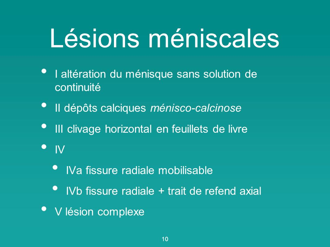 Lésions méniscales I altération du ménisque sans solution de continuité II dépôts calciques ménisco-calcinose III clivage horizontal en feuillets de l