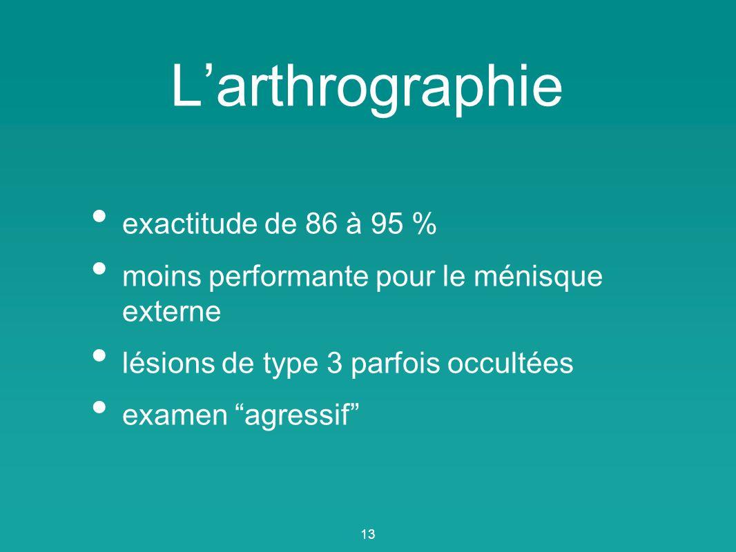 Larthrographie exactitude de 86 à 95 % moins performante pour le ménisque externe lésions de type 3 parfois occultées examen agressif 13