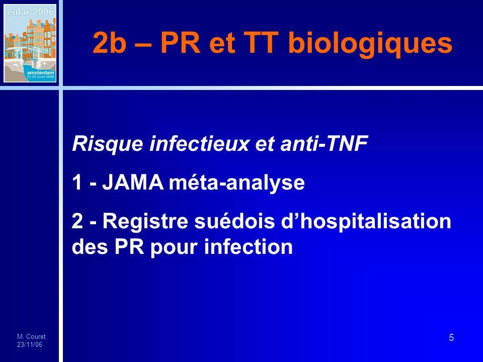 M. Couret 23/11/06 5 2b – PR et TT biologiques Risque infectieux et anti-TNF 1 - JAMA méta-analyse 2 - Registre suédois dhospitalisation des PR pour i