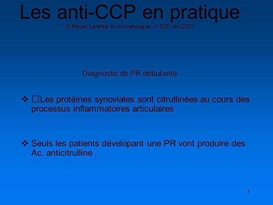 1 Les anti-CCP en pratique O.Meyer La lettre du rhumatologue - n°329 - fev 2007 Diagnostic de PR débutante Les protéines synoviales sont citrullinées