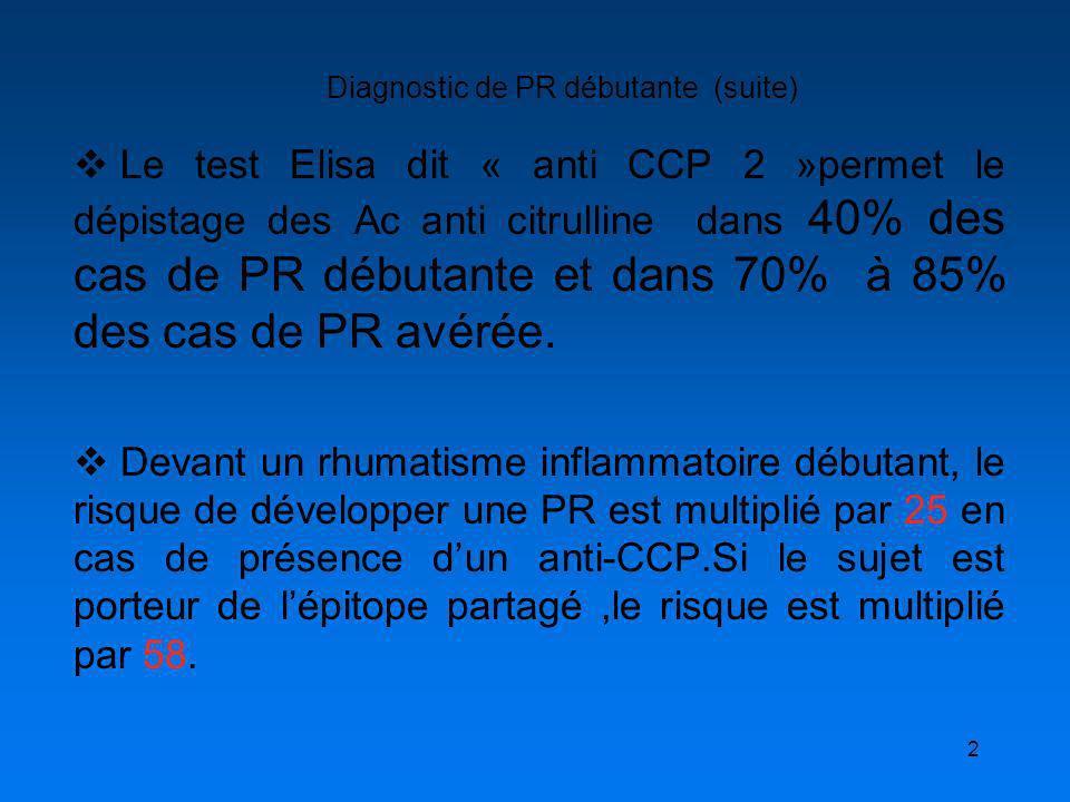 2 Diagnostic de PR débutante (suite) Le test Elisa dit « anti CCP 2 »permet le dépistage des Ac anti citrulline dans 40% des cas de PR débutante et da