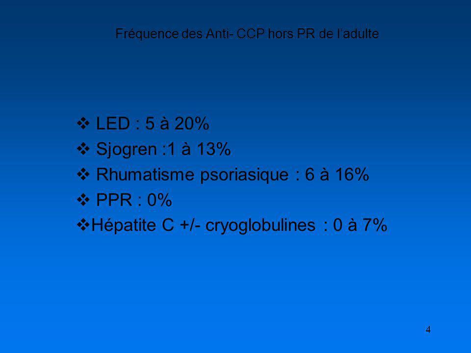 4 Fréquence des Anti- CCP hors PR de ladulte LED : 5 à 20% Sjogren :1 à 13% Rhumatisme psoriasique : 6 à 16% PPR : 0% Hépatite C +/- cryoglobulines :