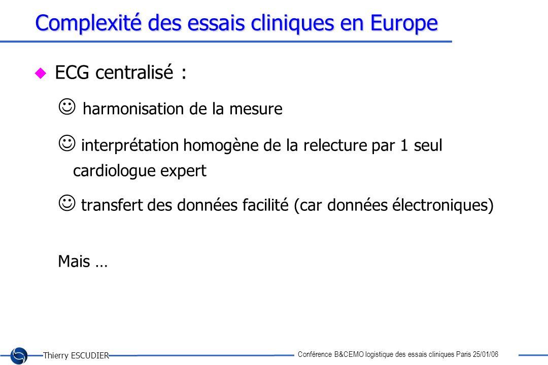 Thierry ESCUDIER Conférence B&CEMO logistique des essais cliniques Paris 25/01/06 Complexité des essais cliniques en Europe ECG centralisé : harmonisa