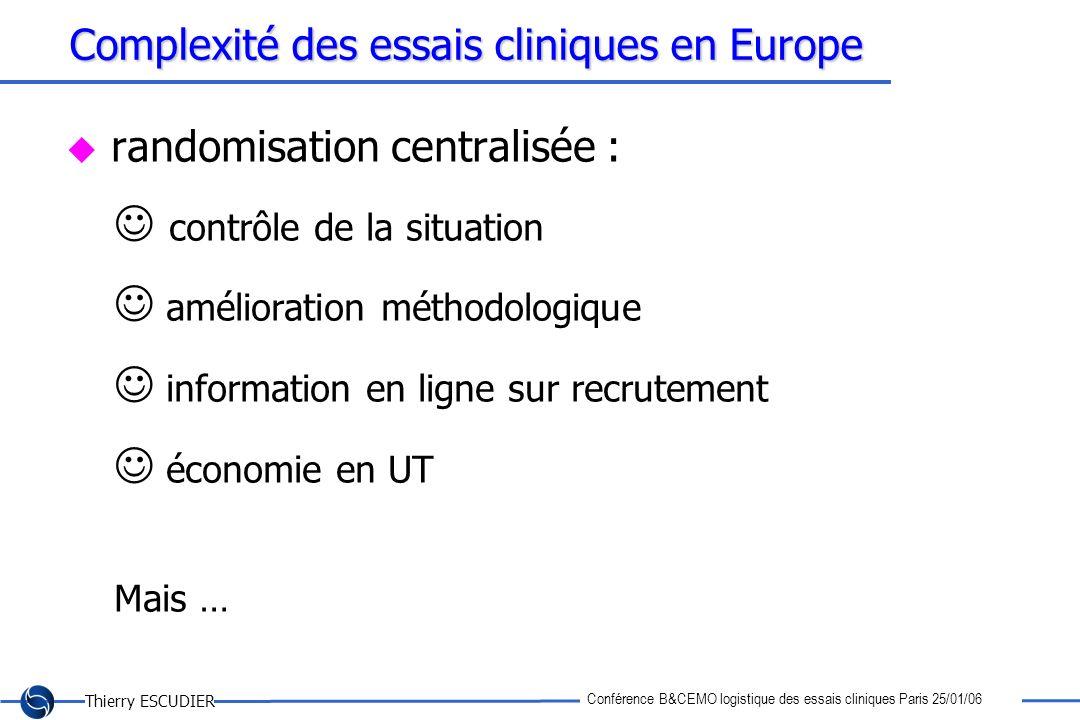 Thierry ESCUDIER Conférence B&CEMO logistique des essais cliniques Paris 25/01/06 Complexité des essais cliniques en Europe randomisation centralisée