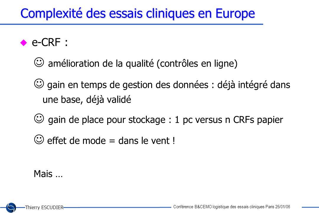 Thierry ESCUDIER Conférence B&CEMO logistique des essais cliniques Paris 25/01/06 Complexité des essais cliniques en Europe e-CRF : amélioration de la