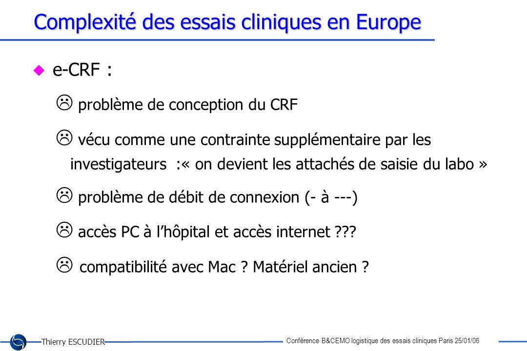 Thierry ESCUDIER Conférence B&CEMO logistique des essais cliniques Paris 25/01/06 Complexité des essais cliniques en Europe e-CRF : problème de concep