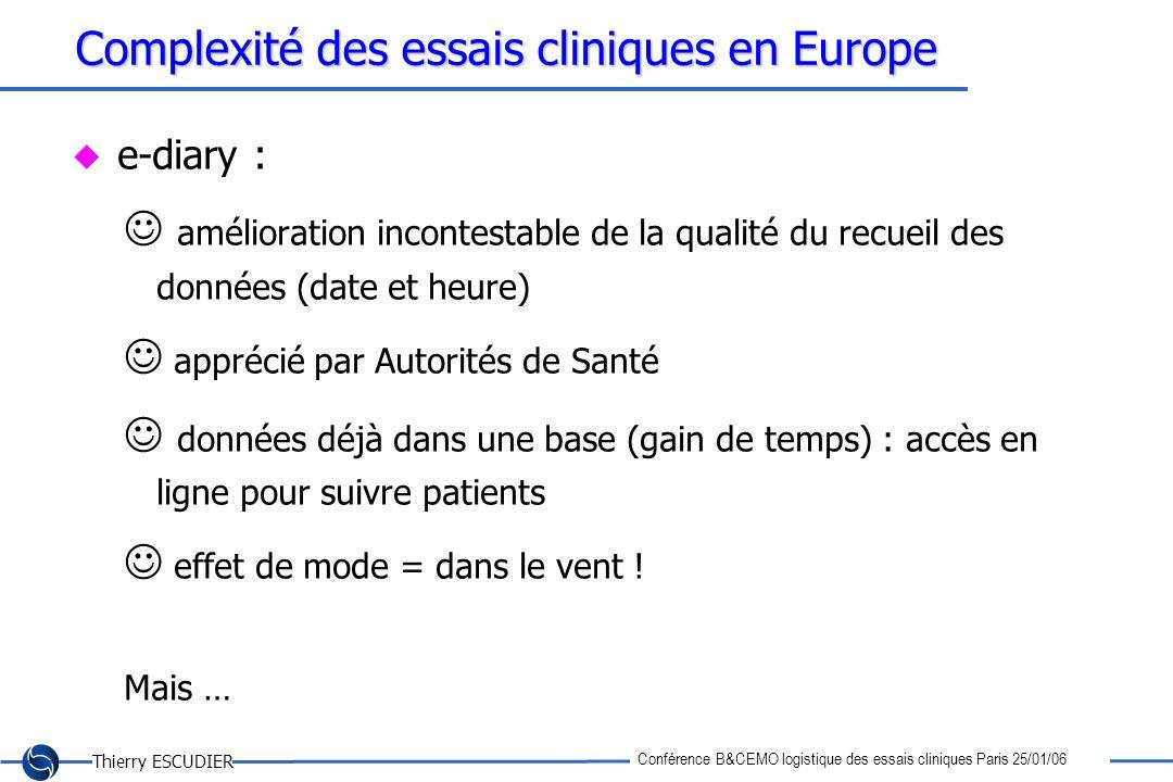 Thierry ESCUDIER Conférence B&CEMO logistique des essais cliniques Paris 25/01/06 Complexité des essais cliniques en Europe e-diary : amélioration inc