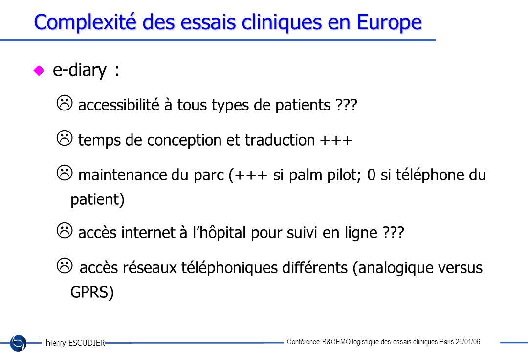 Thierry ESCUDIER Conférence B&CEMO logistique des essais cliniques Paris 25/01/06 Complexité des essais cliniques en Europe e-diary : accessibilité à