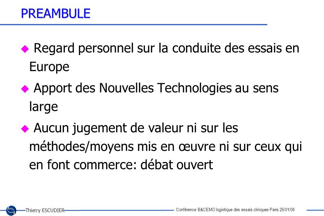 Thierry ESCUDIER Conférence B&CEMO logistique des essais cliniques Paris 25/01/06 PREAMBULE Regard personnel sur la conduite des essais en Europe Appo