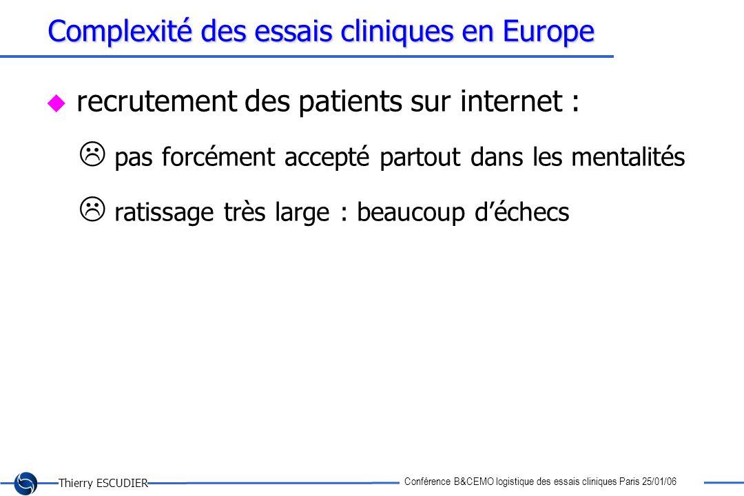Thierry ESCUDIER Conférence B&CEMO logistique des essais cliniques Paris 25/01/06 Complexité des essais cliniques en Europe recrutement des patients s