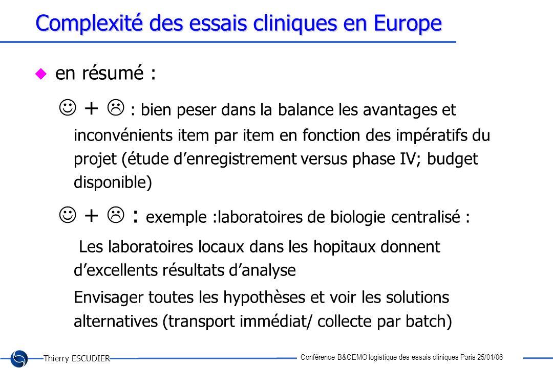 Thierry ESCUDIER Conférence B&CEMO logistique des essais cliniques Paris 25/01/06 Complexité des essais cliniques en Europe en résumé : + : bien peser