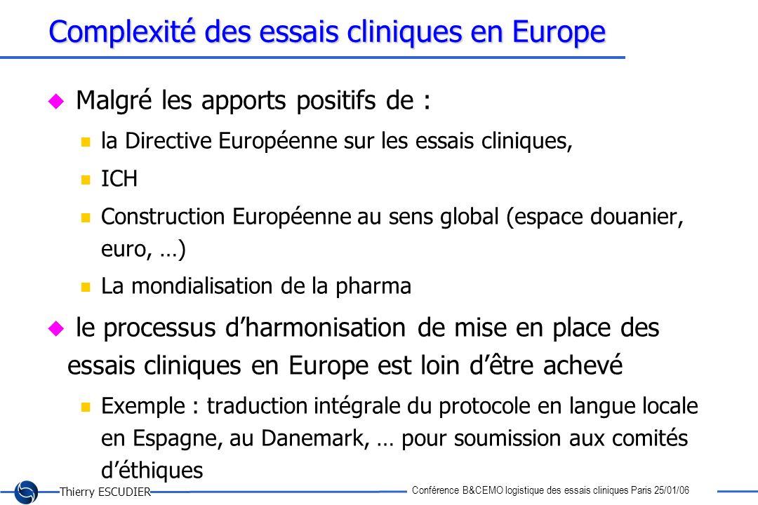 Thierry ESCUDIER Conférence B&CEMO logistique des essais cliniques Paris 25/01/06 Complexité des essais cliniques en Europe Malgré les apports positif