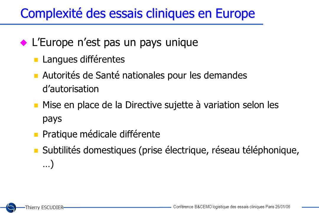 Thierry ESCUDIER Conférence B&CEMO logistique des essais cliniques Paris 25/01/06 Complexité des essais cliniques en Europe LEurope nest pas un pays u